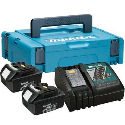 Слика на Сет литијум јонски акумулатори и полнач  Сет од две батерии 18В/3 Ах и полнач